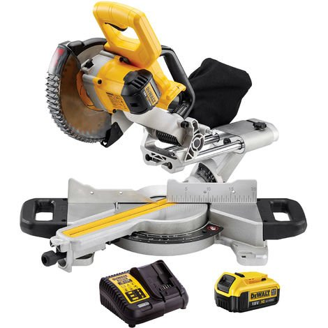 DeWalt DCS365N 18v XR 184mm XPS Slide Mitre Saw Body With 4.0Ah Battery & Charger:18V