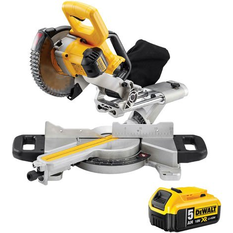 DeWalt DCS365N 18v XR 184mm XPS Slide Mitre Saw Body With 5.0Ah Battery:18V
