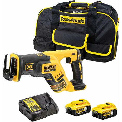 DeWalt DCS367N 18V Brushless Reciprocating Saw with 2 x 5.0Ah Batteries & Charger in Case:18V