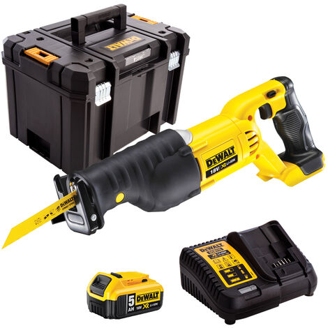 DeWalt DCS380N 18V Reciprocating Saw with 1 x 5.0Ah Battery & Charger in case:18V