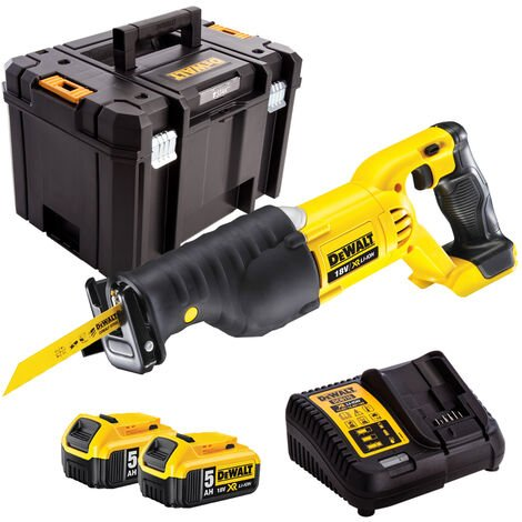 DeWalt DCS380N 18V Reciprocating Saw with 2 x 5.0Ah Battery & Charger in Case:18V