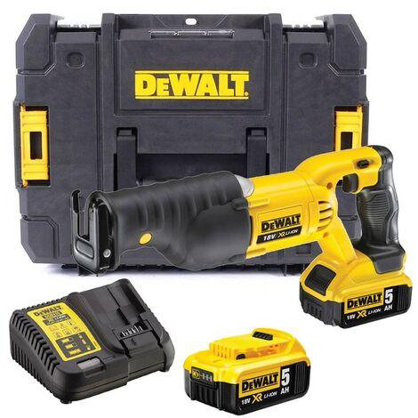 Dewalt DCS380P2 18v XR Reciprocating Sabre Saw + 2 x 5.0ah Battery + Tstak Case
