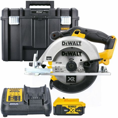 DeWalt DCS391N 18V XR li-ion Circular Saw 165mm Body With 1 x 5.0Ah Battery, Charger & Case