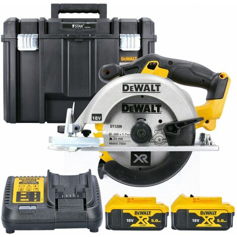 DeWalt DCS391N 18V XR li-ion Circular Saw 165mm Body With 2 x 5.0Ah Batteries, Charger & Case