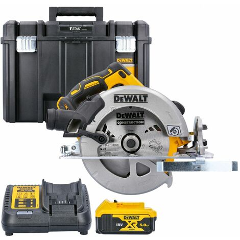 Dewalt DCS570 18V XR Brushless Circular Saw With 1 x 5.0Ah Battery, Charger & Case