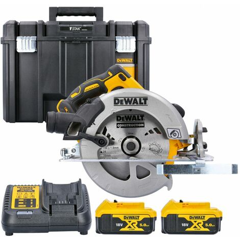 Dewalt DCS570 18V XR Brushless Circular Saw With 2 x 5.0Ah Batteries, Charger & Case