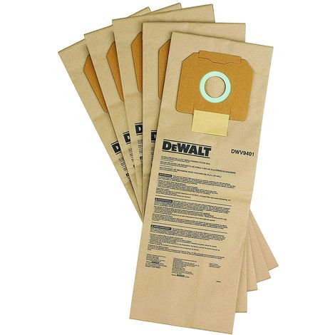 Dewalt DCV9401-XJ Paper Bags For DCV586M Dust Extractor Pack of 5
