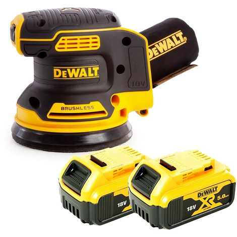 DeWalt DCW210 18V Random Orbital Sander 125mm With 2 x 5Ah Batteries