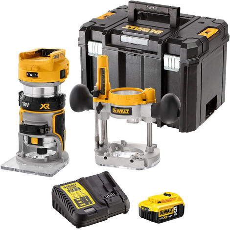 DeWalt DCW604NT 18V Brushless Router Trimmer with 1 x 5.0Ah Battery & Charger in Case:18V
