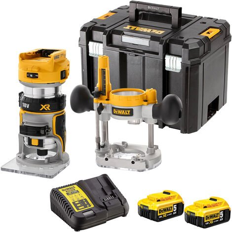 DeWalt DCW604NT 18V Brushless Router Trimmer with 2 x 5.0Ah Battery & Charger in Case:18V