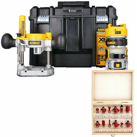 """Dewalt DCW604NT 18V Router With Extra Base, 12 Piece 1/4"""" Shank Cutter Set & Case"""