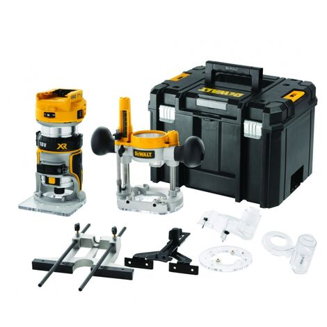 DeWalt DCW604NT-XJ 18v XR Li-ion BL Router/Trimmer Bare Unit with Extra Bases