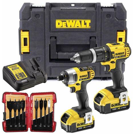 Dewalt DCZ285M2 18V Twin Kit with 2 x 4.0Ah Batteries & 8 Piece Flat Drill Bit Set