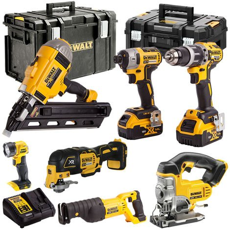 DeWalt DEW7ATSKIT1 18V XR 7 Piece with 2 x 5.0Ah Li-ion KIT:18V