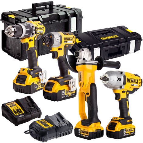 Dewalt DEWKIT99 18V Brushless 4 Piece Kit with 4 x 5.0Ah Batteries & Charger in TSTAK Box