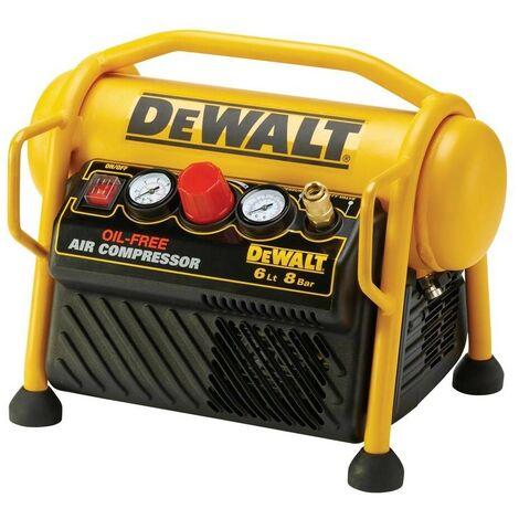 DEWALT DPC6MRC-QS - Compresor de 6L sin aceite y portátil de 1.100W con presión de 8Bar