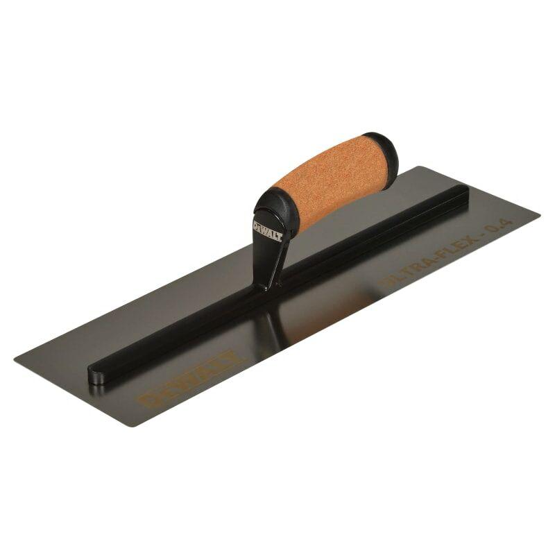 Image of 0.4mm FLEX Stainless Steel Flat Trowel, Leather Handle 16in - Dewalt Drywall
