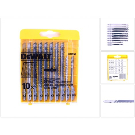 Dewalt DT 2290 Set HCS - Stichsägenblätter Holz 10 - teilig