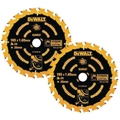 Dewalt DT10300 2 x Circular Saw Blades 165 x 20 x 24T Extreme Framing DWE550