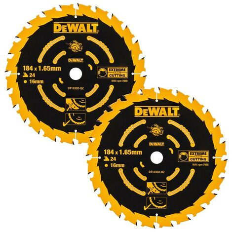 Dewalt DT10303 2 x Circular Saw Blades 184 x 16 x 40T Extreme Framing DWE560