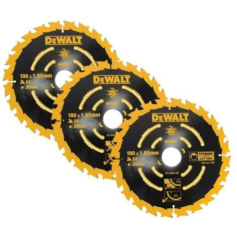 Dewalt DT10304 Set of 3 Corded Circular Saw Blades 190 x 30mm x 24 Tooth Extreme