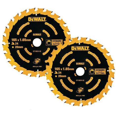 Dewalt DT10624 2 x Circular Saw Blades 165 x 20 x 24T Extreme Framing DCS391