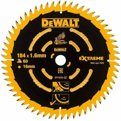 DeWalt DT1670 Cordless Mitre Saw Blade For DCS365 184 x 16mm x 60T Fine