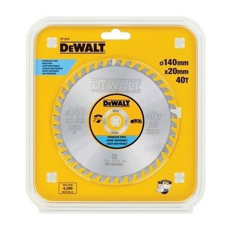 DEWALT DT1918-QZ - Hoja para sierra circular sin cable 140x20mm 30D para Acero inoxidable MMJ +10º
