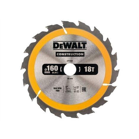 DeWalt DT1931-QZ Construction Circular Saw Blade 160 x 20mm x 18T