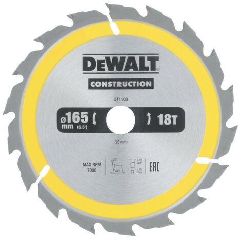 DEWALT DT1933-QZ - scie circulaire portative pourla construction 165x20mm 18D ATB20 °