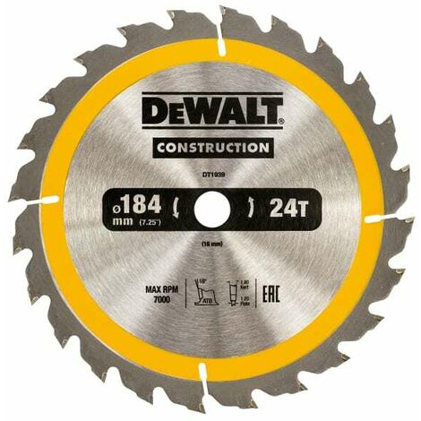 Dewalt DT1939 Construction Circular Saw Blade 184mm x 16mm x 24T