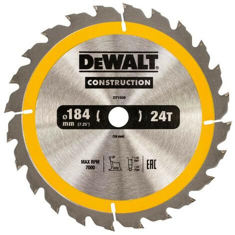 Dewalt DT1939 Construction Circular Saw Blade 184mm x 16mm x 24T