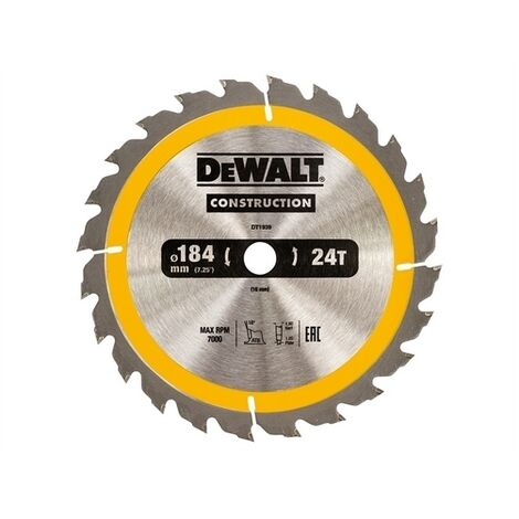 DeWalt DT1939-QZ Construction Circular Saw Blade 184 x 16mm x 24T