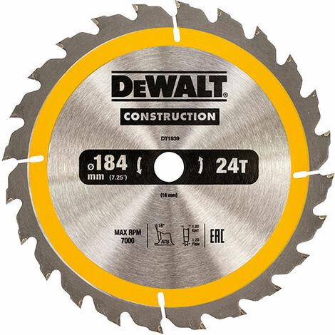 DeWalt DT1939-QZ Portable Construction Circular Saw Blade 184 x 16mm x 24T
