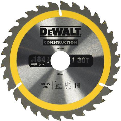 DeWalt dt1942-qz–Lama per sega circolare portatile per costruzioni 184x 30mm 30d ATB + 1000