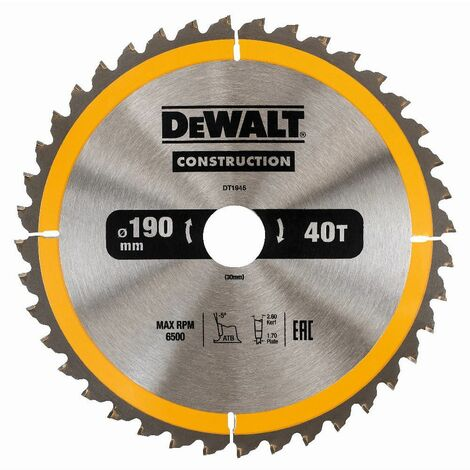 DEWALT DT1945-QZ - scie circulaire portative pourla construction 190x30mm 40D ATB10 °