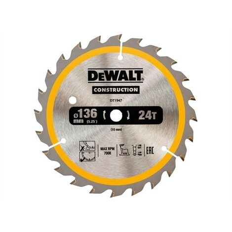 DeWalt DT1947-QZ Construction Trim Saw Blade 136 x 10mm x 24T