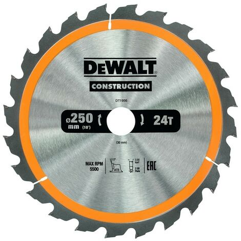 DEWALT DT1956-QZ - circularlame de scie garait 250x30mm 24D ATB10 °