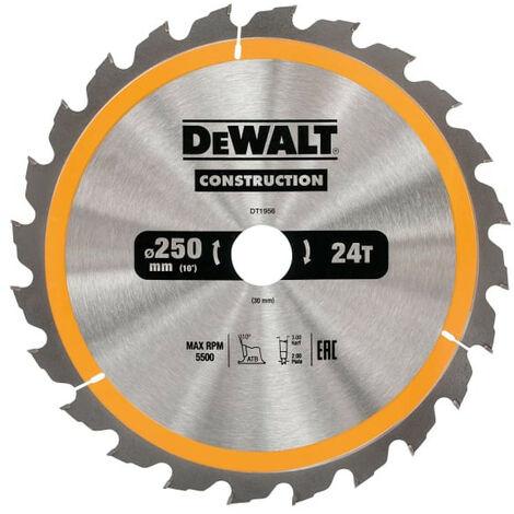 DeWalt DT1956 Stationary Construction Circular Saw Blade 250 x 30mm x 24T ATB/Neg