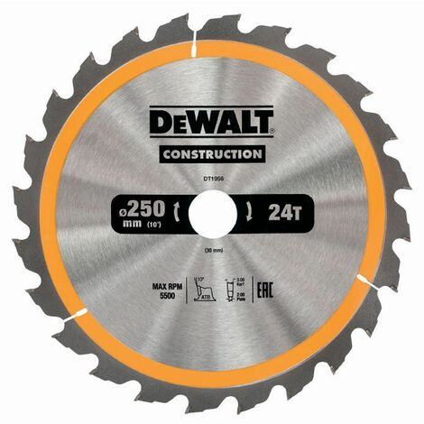 DEWALT DT1957 250 X 30 MM X 48 DENTS LAME DE SCIE CIRCULAIRE CONSTRUCTION - JAUNE