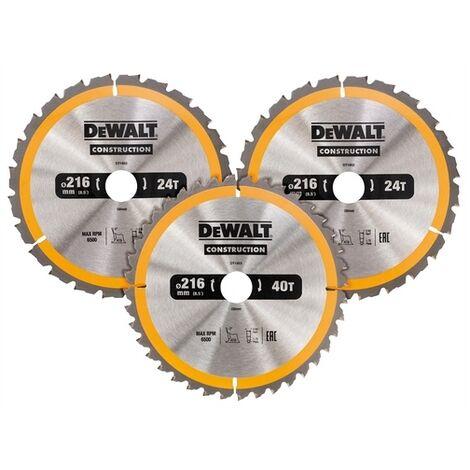 DeWalt DT1962-QZ Construction Circular Saw Blade 3 Pack 216 x 30mm 2 x 24T 1 x 40T