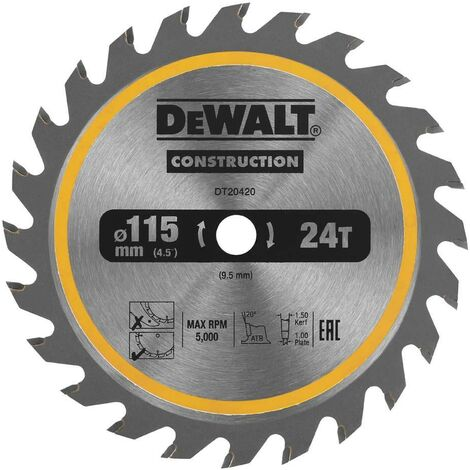 Dewalt DT20420 Circular Saw Blade 115 x 9.5mm x 24 Tooth TCT Fits DCS571 Trimsaw