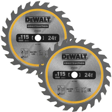 Dewalt DT20420 Circular Saw Blade 115 x 9.5mm x 24 Tooth TCT Fits DCS571 X 2