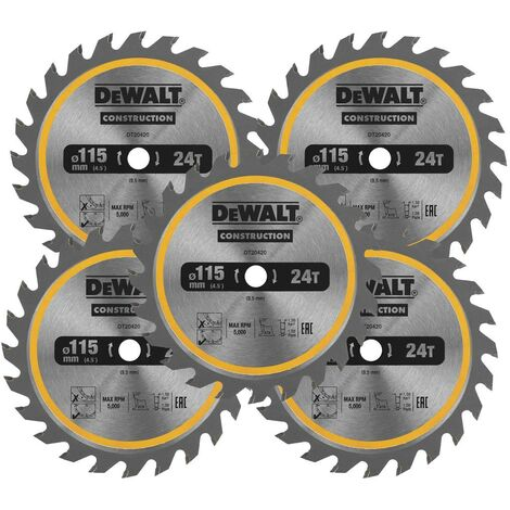 Dewalt DT20420 Circular Saw Blade 115 x 9.5mm x 24 Tooth TCT Fits DCS571 X 5