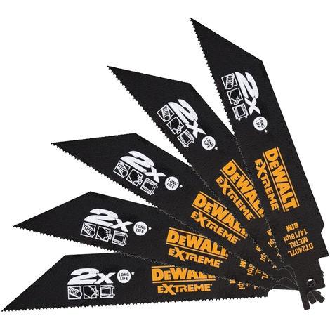 DeWalt DT2407L-QZ 152mm 14/18 TPI Metal Reciprocating Blades Pack of 5