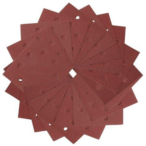 DEWALT DT3034-QZ - Lija 1/4 de hoja 115x115mm perforada grano 180 con 8 hoyos circulares (25 ud)