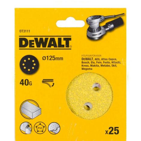 DeWalt DT3111-QZ 125mm 40G Sanding Disc for Orbit Sander Pack of 25