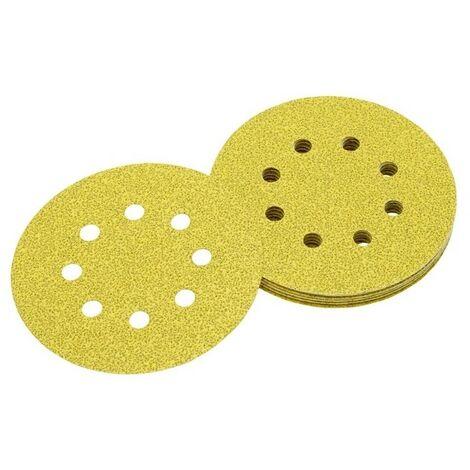 DEWALT DT3111-QZ - Discos de lija de 125mm y grano 40 con 8 orificos perforados con velcro (25 ud)