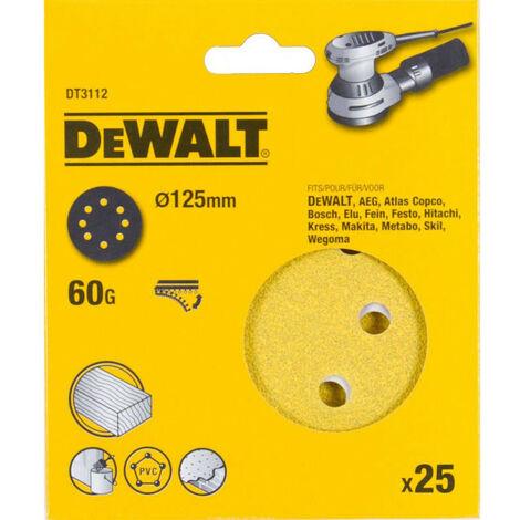 DeWalt DT3112-QZ 125mm 60G Sanding Disc for Orbit Sander Pack of 25