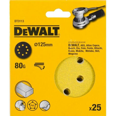 DeWalt DT3113-QZ 125mm 80G Sanding Disc for Orbit Sander Pack of 25